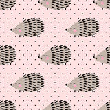 Hedgehog seamless pattern on pink polka dots background. Stock Images