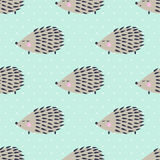 Hedgehog seamless pattern on polka dots background. Cute cartoon animal background. Child drawing style hedgehog illustration Royalty Free Stock Image