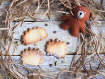 Hedgehog shaped cookies. On rustic background Stock Image