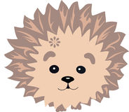 The hedgehog sits on pads, an illustration of the forest inhabitant, a hedgehog with needles lines, an animal with a flower Royalty Free Stock Photography