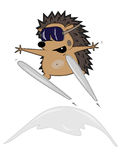Hedgehog skier Royalty Free Stock Photography