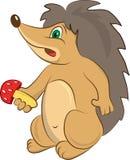 Hedgehog. Small sweet animal hedhehog with red mushroom Stock Photography