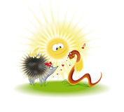 Hedgehog, snake under the sun Stock Photo