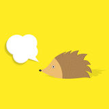 Hedgehog with speech bubble Stock Photo