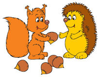 Hedgehog and squirrel (vector Royalty Free Stock Images