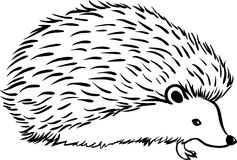 Hedgehog stylization icon logo. Line sketch Royalty Free Stock Photos