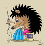 The hedgehog is a tailor. The small hedgehog diligent to sew clothes with a needle and a thread Stock Images