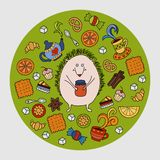 Hedgehog and tea. Colorful vector hand drawn doodle cartoon. Illustration. EPS 8 Stock Photos