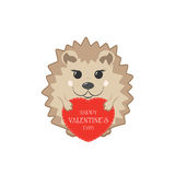 Hedgehog with Valentine heart Stock Image