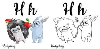 Hedgehog. Vector alphabet letter H, coloring page. Vector alphabet letter H for children education with funny cartoon hedgehog and bunny. . Learn to read Vector Illustration