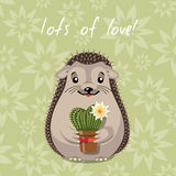Hedgehog. Vector greeting card hedgehog holding heart-shaped cactus cartoon style Royalty Free Stock Photo
