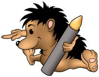 Hedgehog and Wax Crayon Stock Image