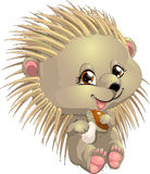 Hedgehog. Who holds a mushroom royalty free illustration