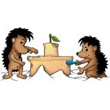 Hedgehogs e castelo ilustração stock