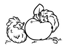 Hedgehogs eat apple coloring pages Royalty Free Stock Photo