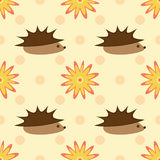 Hedgehogs and flowers on a background of polka dots. Seamless pattern. Brown, orange, yellow, beige, pink Stock Photo