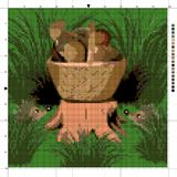 Hedgehogs in the forest and a basket of mushrooms. Cross stitch. Hedgehogs in the forest and a basket of mushrooms. The scheme of cross-stitch. Elements for Stock Photo
