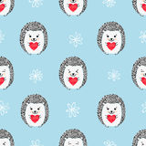 Hedgehogs with hearts seamless pattern. Vector background for Valentines Day and Birthday greeting cards, fabric, wrapping paper Stock Photos