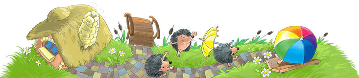 Hedgehogs house and garden Stock Images