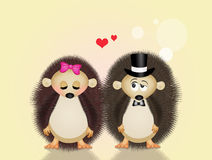 Hedgehogs in love Stock Images