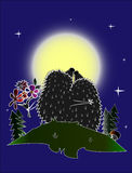Hedgehogs na noite da lua Fotos de Stock