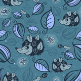 Hedgehogs in the night forest pattern Stock Photography