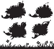 Hedgehogs silhouettes Stock Images