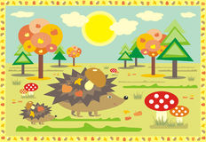 Hedgehogs on a walk at a sunny autumn day. Vector hedgehogs on a walk in a forest at a sunny autumn day Stock Photos