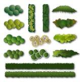 Hedges and bush set for landscape design. 14 different hedge and bush symbols in a top view for architectural or landscape design. Vector illustration isolated vector illustration