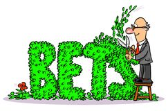 Hedging your bets cartoon Royalty Free Stock Photo