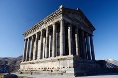 Hednisk soltempel, Garni, Armenien, klassisk Hellenistic byggnad Arkivbild