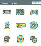 Heeft de vastgestelde de premiekwaliteit van de pictogrammenlijn van klassiek spel, mobiele gokkenelementen bezwaar Moderne vlakk royalty-vrije illustratie