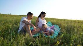 Heeft het Cinemagraph zwangere paar met peuterdochter in openlucht vrije tijd op grasgebied stock footage