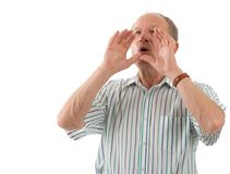Heehaw!. Aged man shouting. White background Stock Photography
