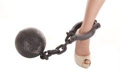 Heel ball. A woman's ankle with a ball and chain hooked to it Stock Images