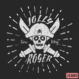 Heel de piraat uitstekende zegel van Roger vector illustratie