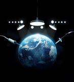Heel de Wereld, aarde in noodsituatieruimte met medisch hulpmiddel, milieuconcept Stock Foto's