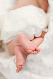 The heel of the foot of a small three months sleeping child Stock Images