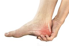 Heel muscle pain. White background heel injury stock photography