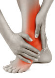 Heel pain. In women. Pain concept royalty free stock images