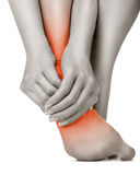 Heel pain. In women. Pain concept royalty free stock image