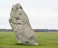 Heel stone part of Stonehenge construction. A 5 meter tall warden unworked stone in the avenue near the Stonehenge group of stones royalty free stock photos