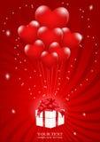 Heel wat ballon-hart maakte aan een giftdoos vast Royalty-vrije Stock Fotografie
