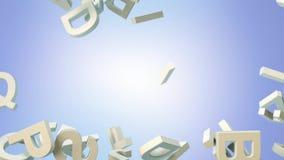 Heel wat brieven die van de hemel vallen Onderwijs en cultuurconcept 3d Stock Fotografie