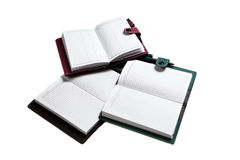 Heel wat die notitieboekjes op witte achtergrond worden geïsoleerd Stock Foto