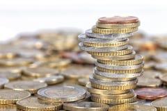 Heel wat Euro muntstukken royalty-vrije stock foto