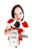 Heel wat geld wil een leuke brunette Stock Fotografie