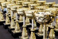 Heel wat gouden koppen voor kampioen royalty-vrije stock fotografie