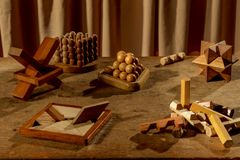 Heel wat houten raadsels Royalty-vrije Stock Foto's