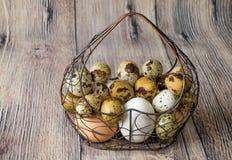 Heel wat kippeneieren en van kwartelseieren liggende metaalstructuur in de vorm van een hart die op een houten lijst liggen Stock Fotografie